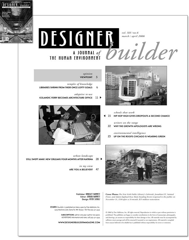 DESIGNER/builder Magazine - March/April 2006 cover