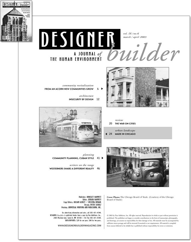 DESIGNER/builder Magazine - March/April 2003 cover